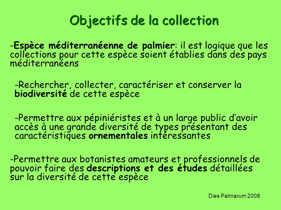 Objectifs de la collection