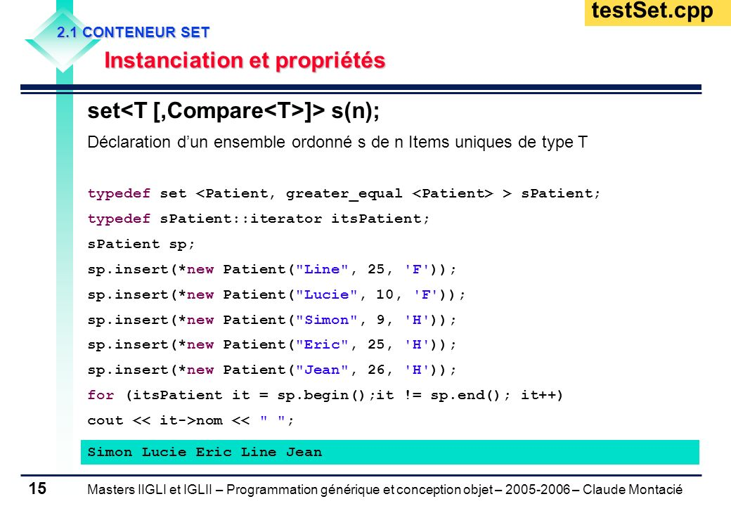 set<T [,Compare<T>]> s(n);