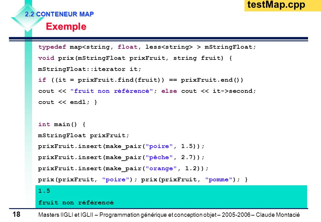 testMap.cpp Exemple 2.2 CONTENEUR MAP