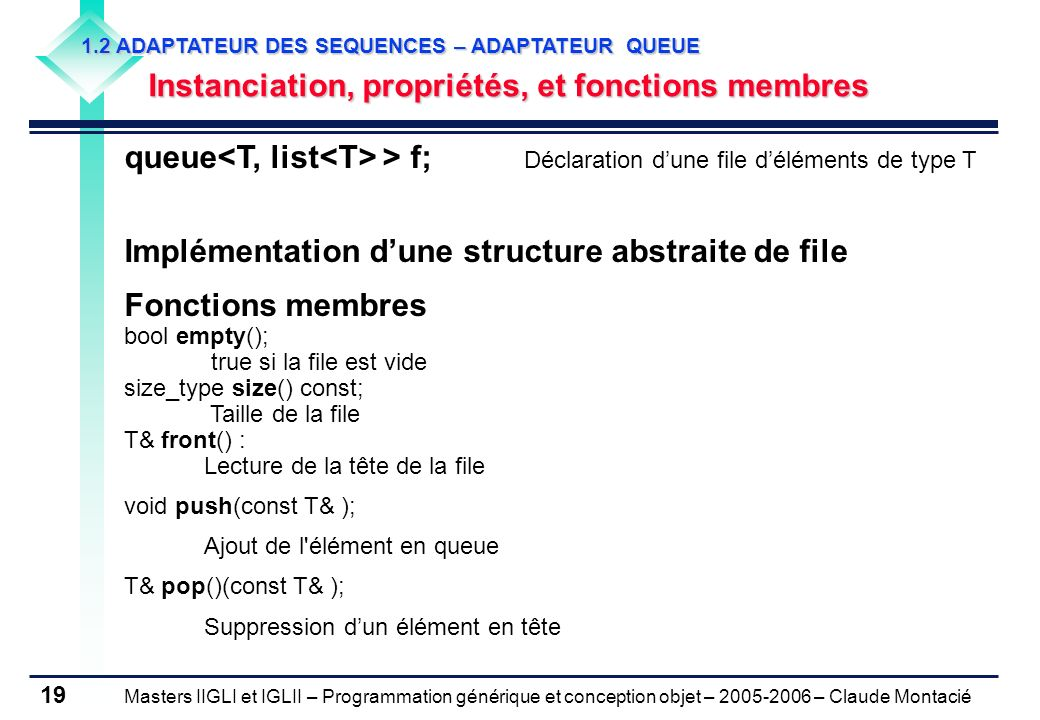 Implémentation d'une structure abstraite de file Fonctions membres
