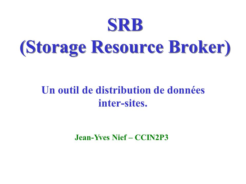 SRB (Storage Resource Broker)