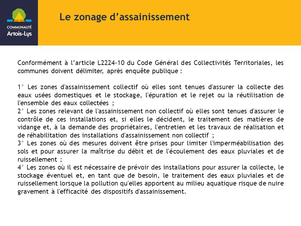 Le zonage d'assainissement