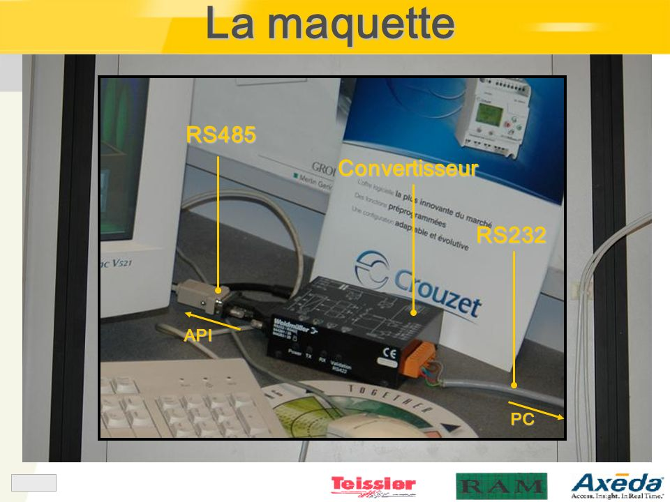 La maquette RS485 API Convertisseur RS232 PC