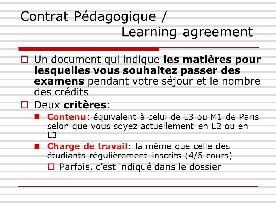 Contrat Pédagogique / Learning agreement
