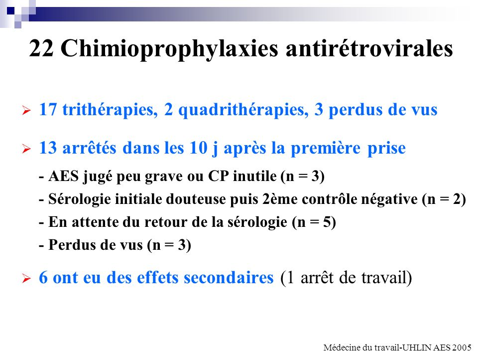 22 Chimioprophylaxies antirétrovirales