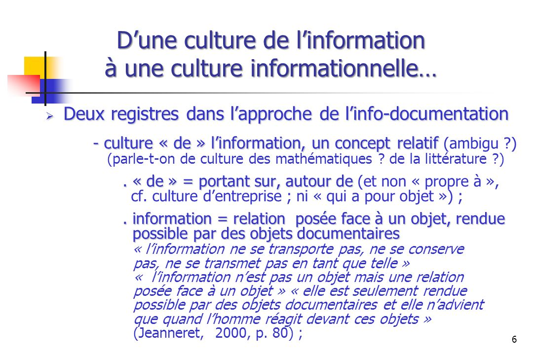 D'une culture de l'information à une culture informationnelle…