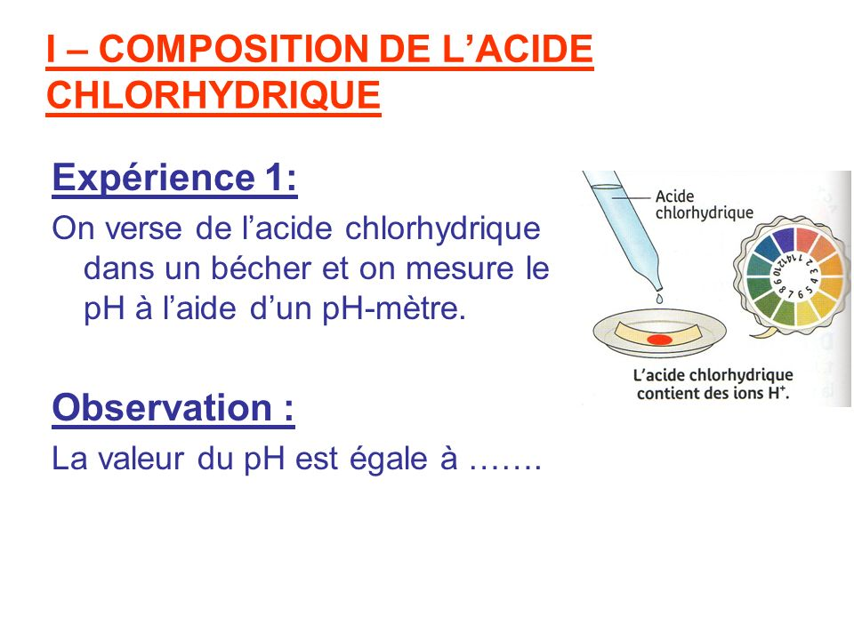 I – COMPOSITION DE L'ACIDE CHLORHYDRIQUE