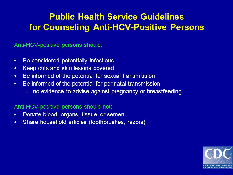 Public Health Service Guidelines for Counseling Anti-HCV-Positive Persons