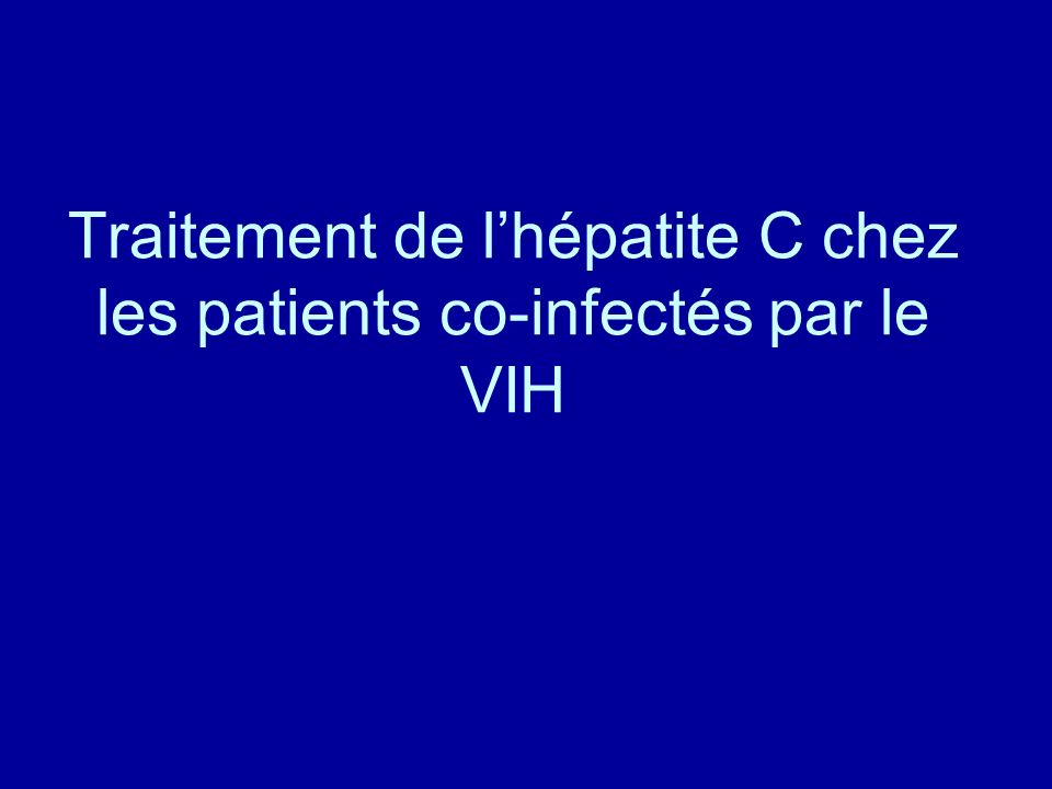 Traitement de l'hépatite C chez les patients co-infectés par le VIH