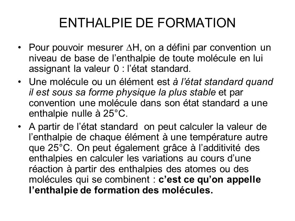 ENTHALPIE DE FORMATION
