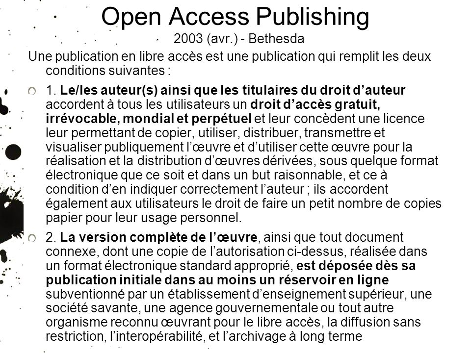 Open Access Publishing 2003 (avr.) - Bethesda