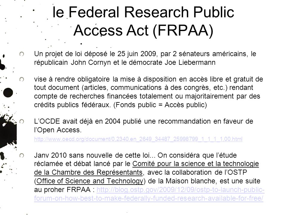 le Federal Research Public Access Act (FRPAA)
