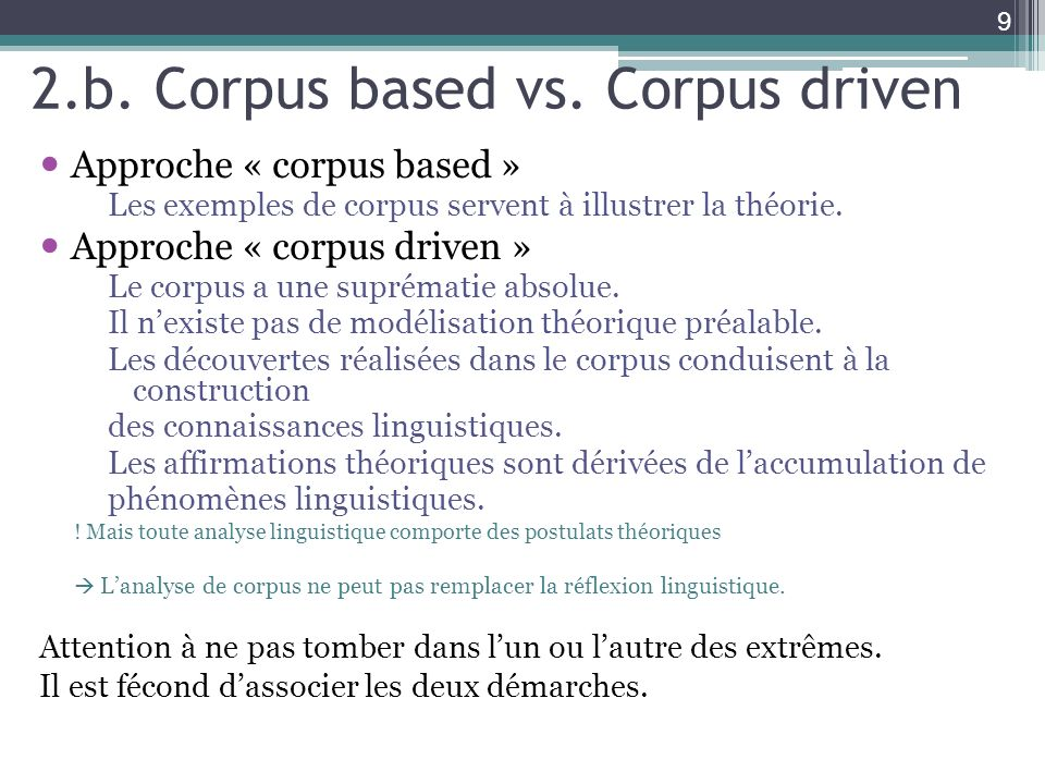 2.b. Corpus based vs. Corpus driven