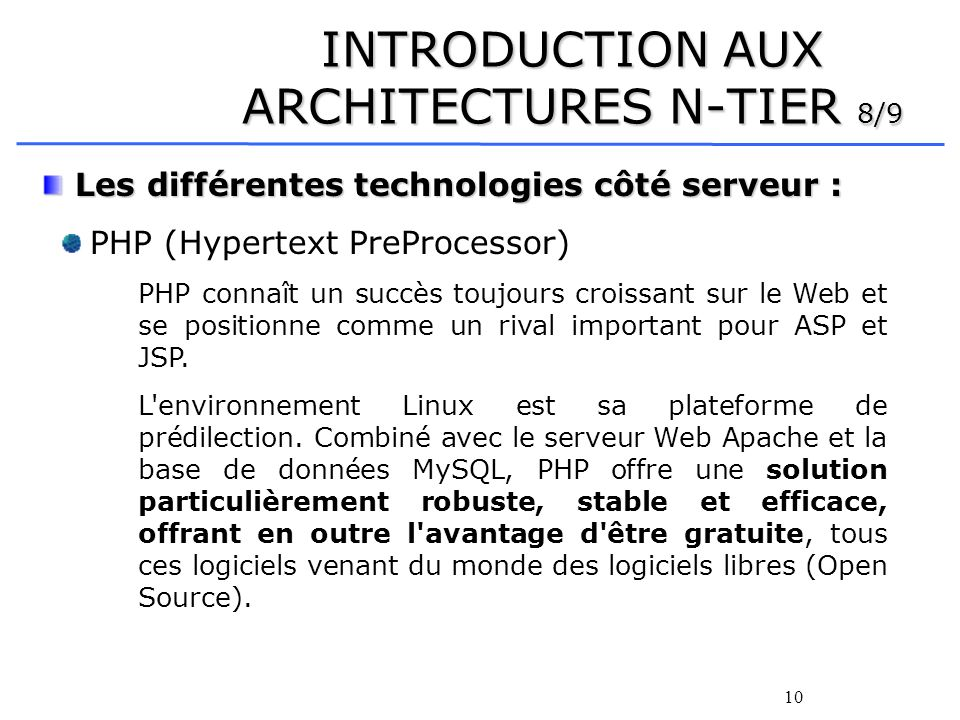 INTRODUCTION AUX ARCHITECTURES N-TIER 8/9