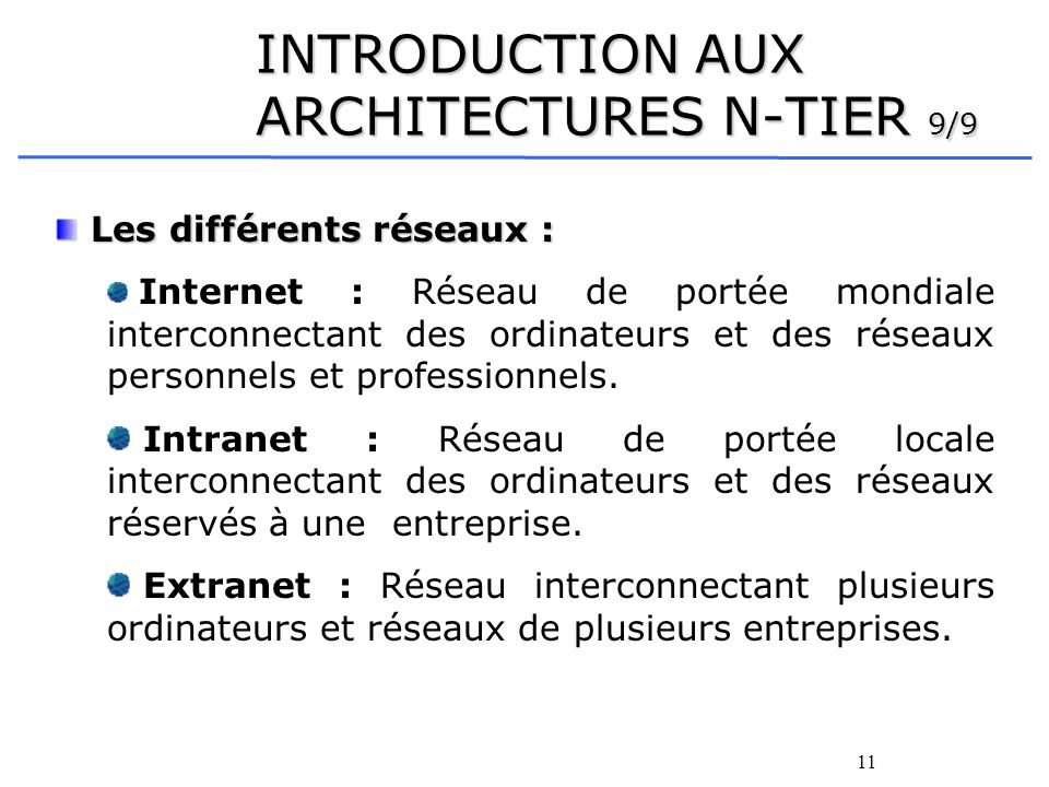 INTRODUCTION AUX ARCHITECTURES N-TIER 9/9