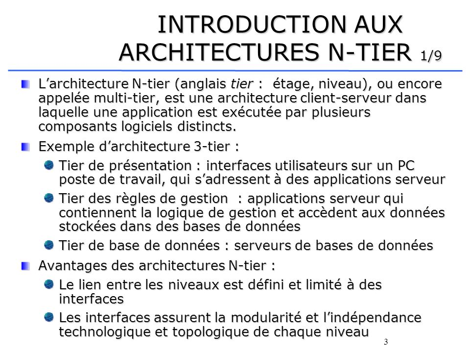 INTRODUCTION AUX ARCHITECTURES N-TIER 1/9