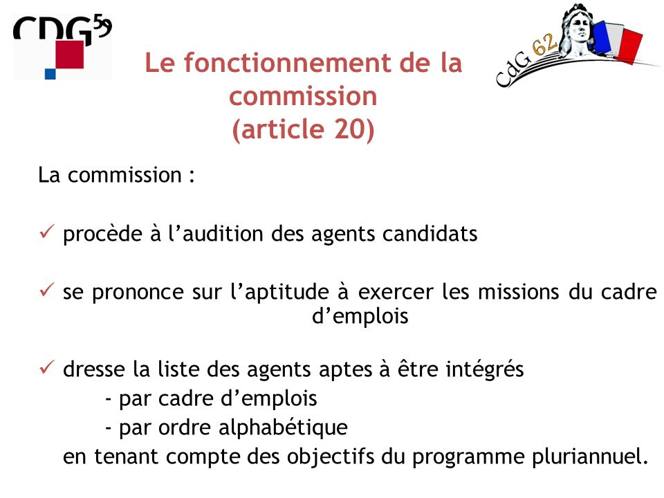 Le fonctionnement de la commission (article 20)
