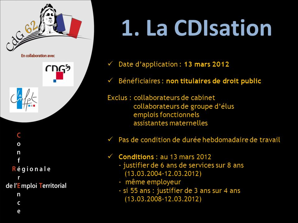 1. La CDIsation Date d'application : 13 mars 2012