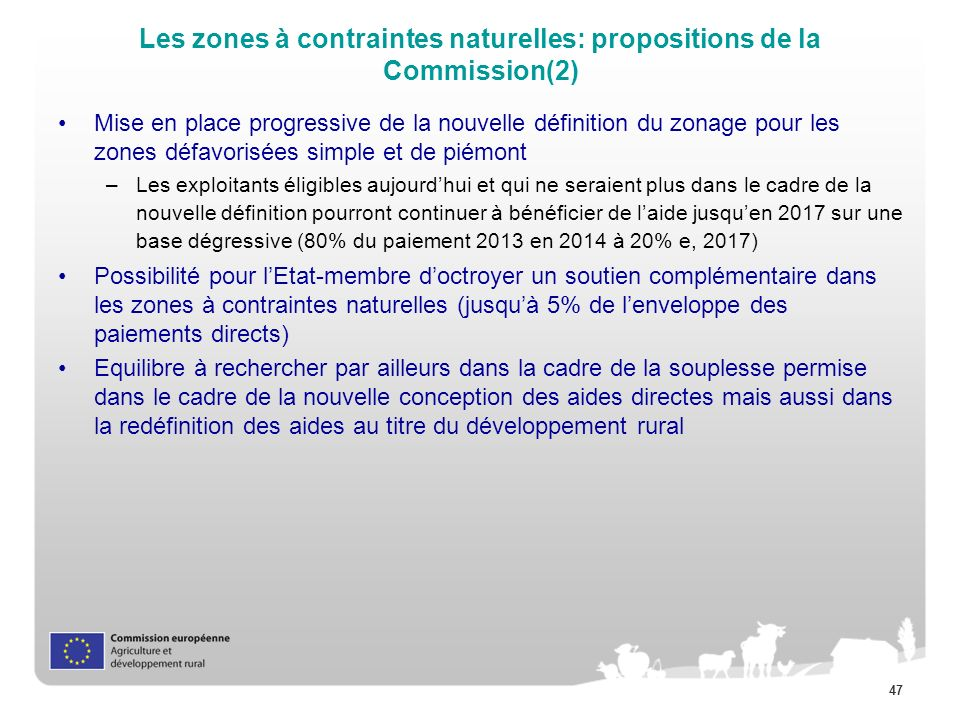 Les zones à contraintes naturelles: propositions de la Commission(2)