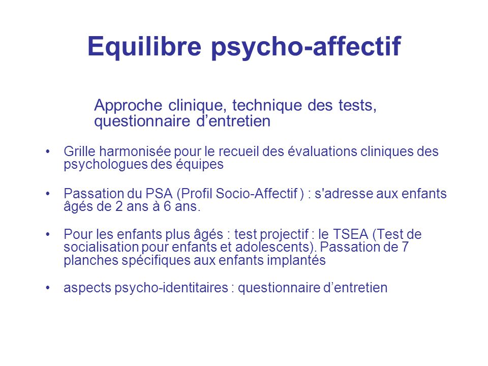 Equilibre psycho-affectif