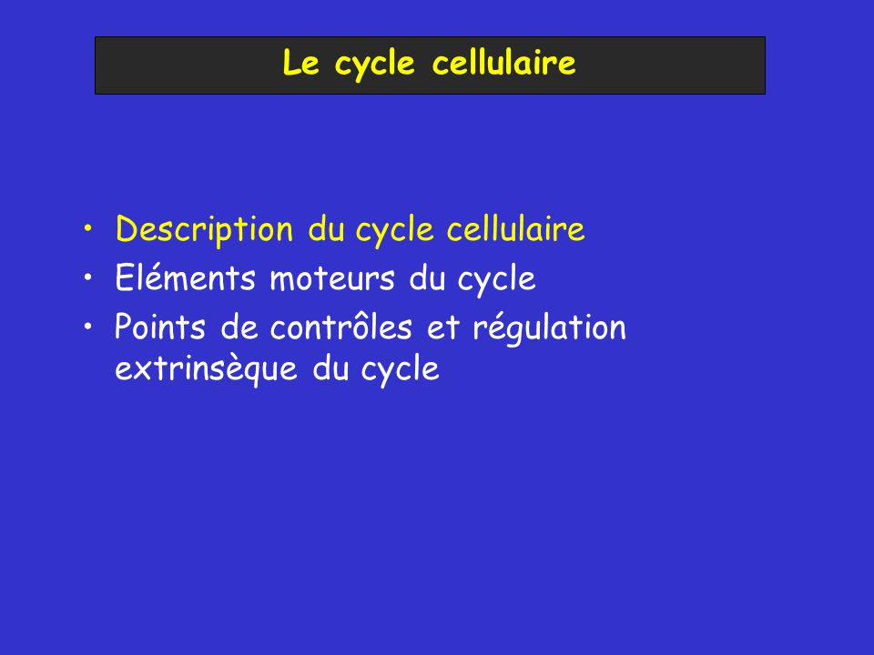 Le cycle cellulaire Description du cycle cellulaire.