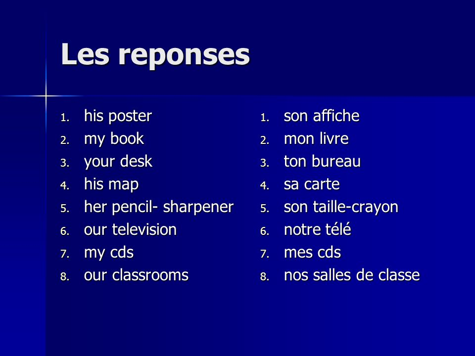 Les reponses his poster my book your desk his map