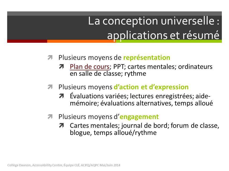 La conception universelle : applications et résumé