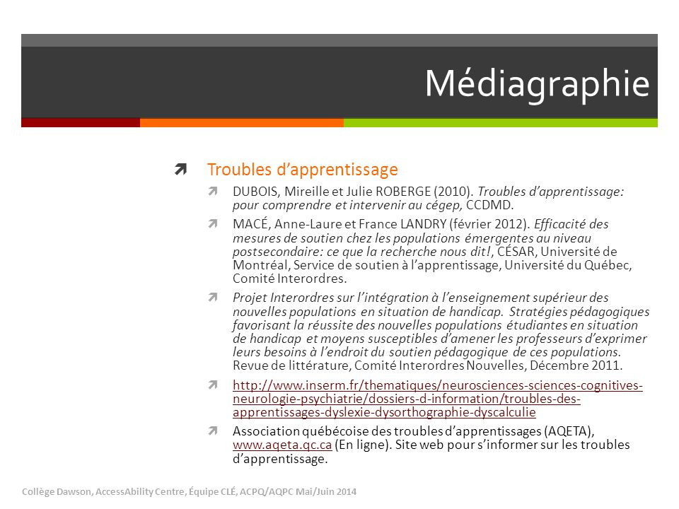 Médiagraphie Troubles d'apprentissage