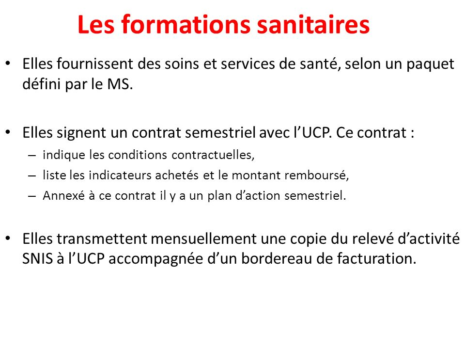 Les formations sanitaires