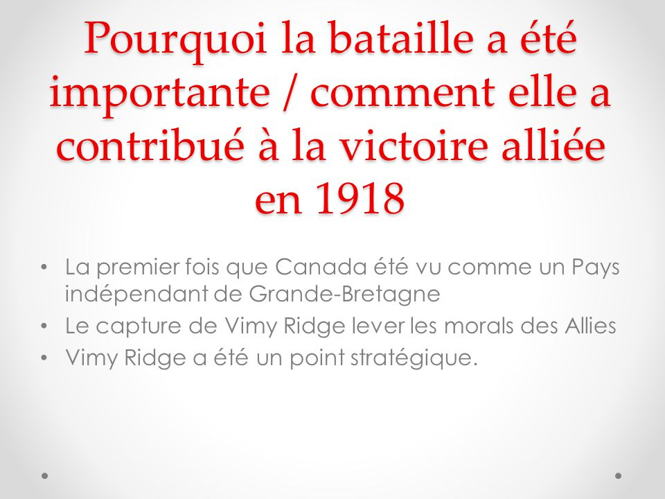 le bataille de vimy ridge ppt video online t l charger. Black Bedroom Furniture Sets. Home Design Ideas