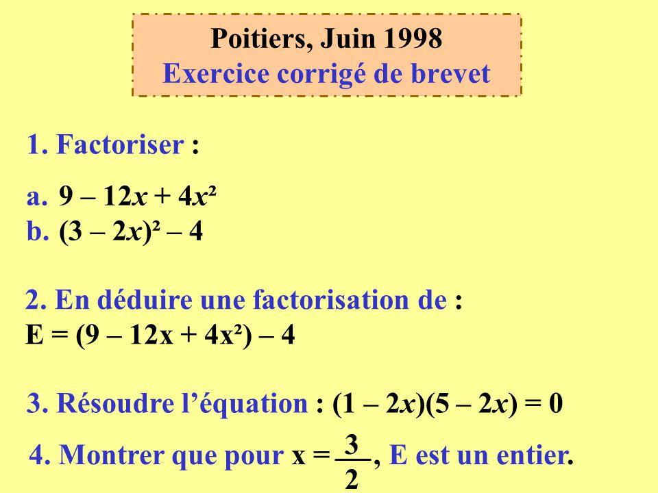 Poitiers Juin 1998 Exercice Corrige De Brevet Ppt Telecharger