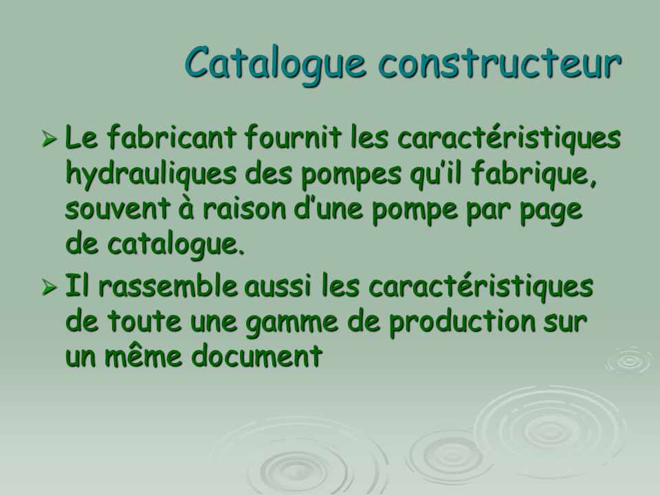 Catalogue constructeur