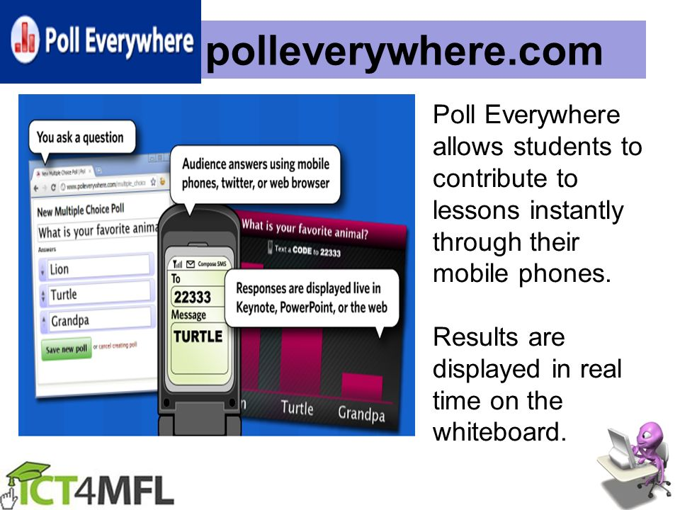 polleverywhere.com Poll Everywhere allows students to contribute to lessons instantly through their mobile phones.