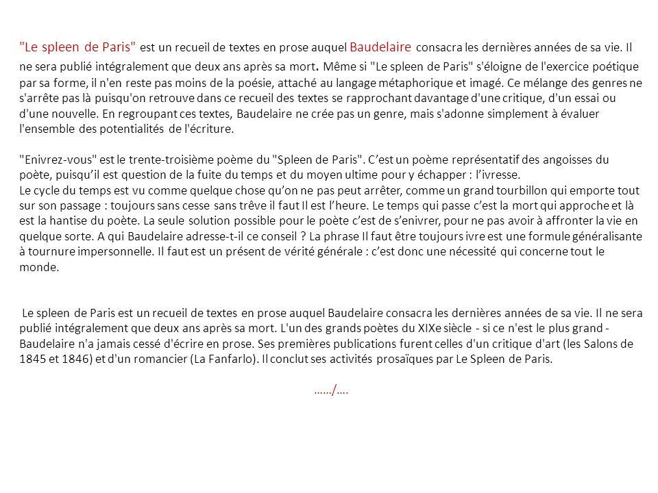 Extrait Du Spleen De Paris Ppt Télécharger