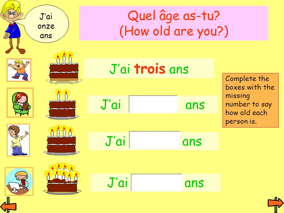Quel âge as-tu (How old are you )