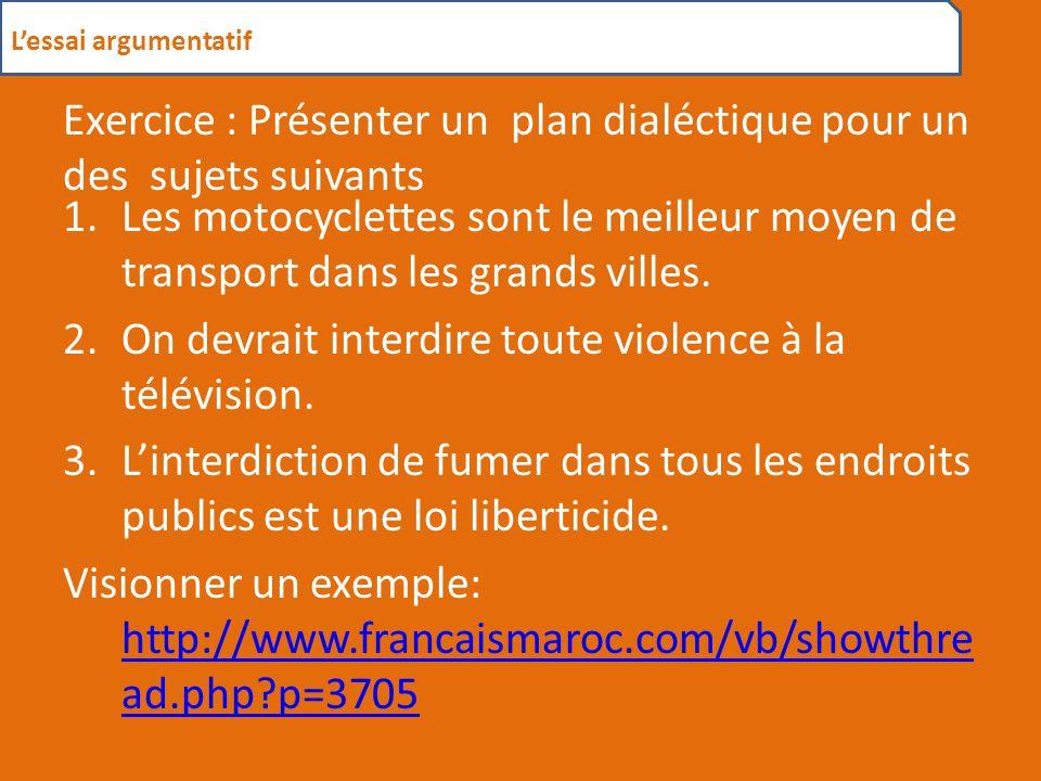 L'essai argumentatif 2. Types de plan - ppt video online télécharger Exercice : Présenter un plan dialéctique pour un des sujets suivants