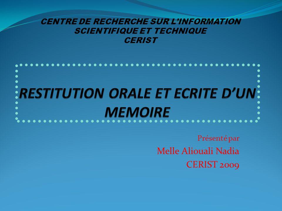 Restitution Orale Et Ecrite D Un Memoire