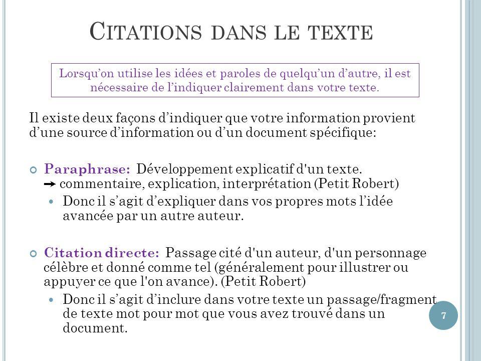 Méthode/Style APA: Citations et références bibliographiques   ppt