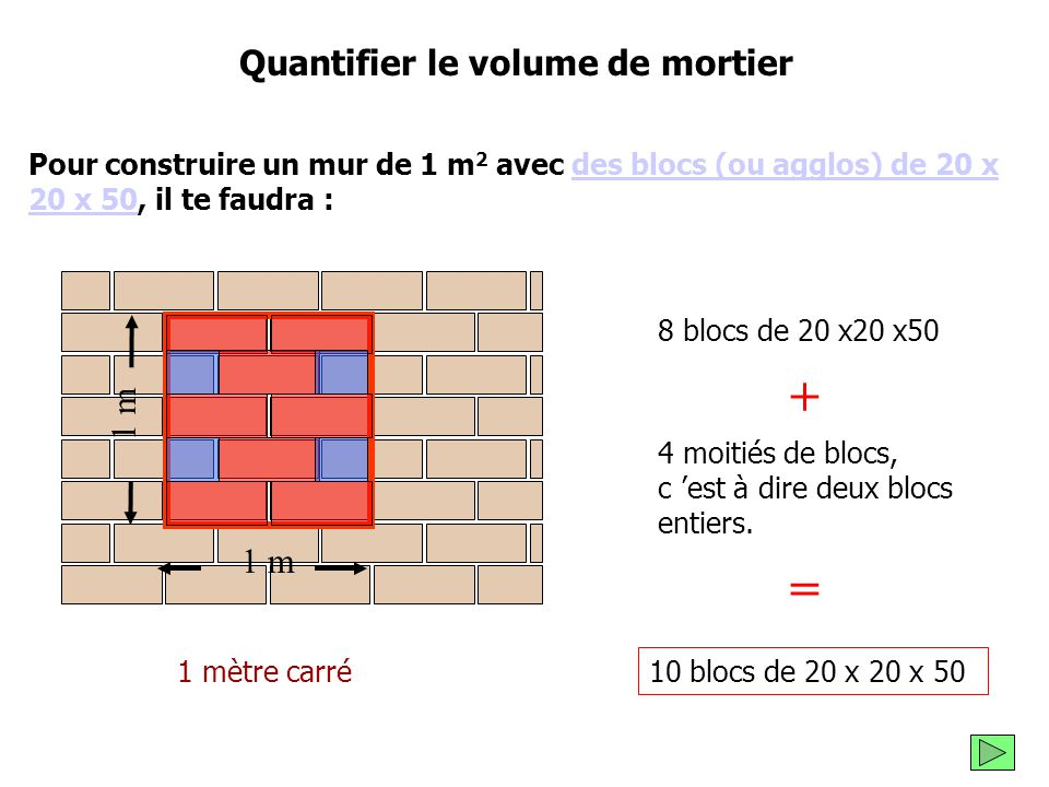 quantifier le volume de mortier ppt video online t l charger. Black Bedroom Furniture Sets. Home Design Ideas