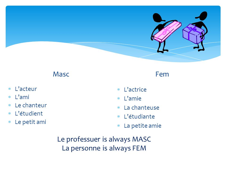 Le professuer is always MASC La personne is always FEM