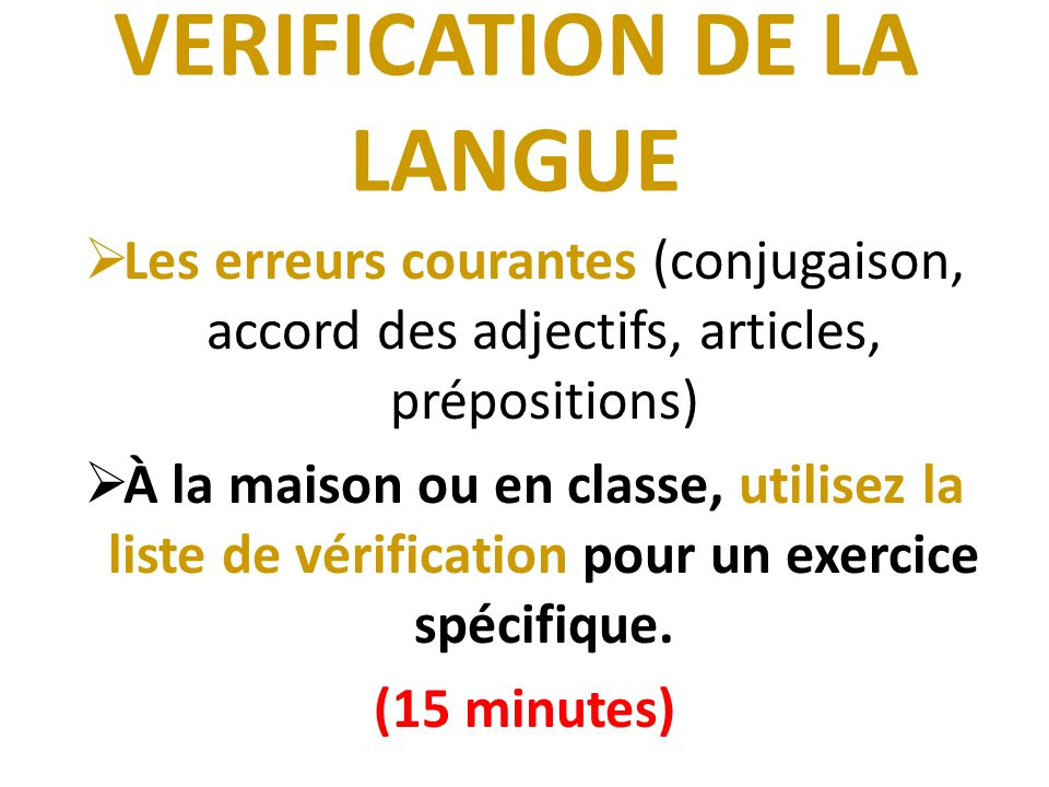 VERIFICATION DE LA LANGUE