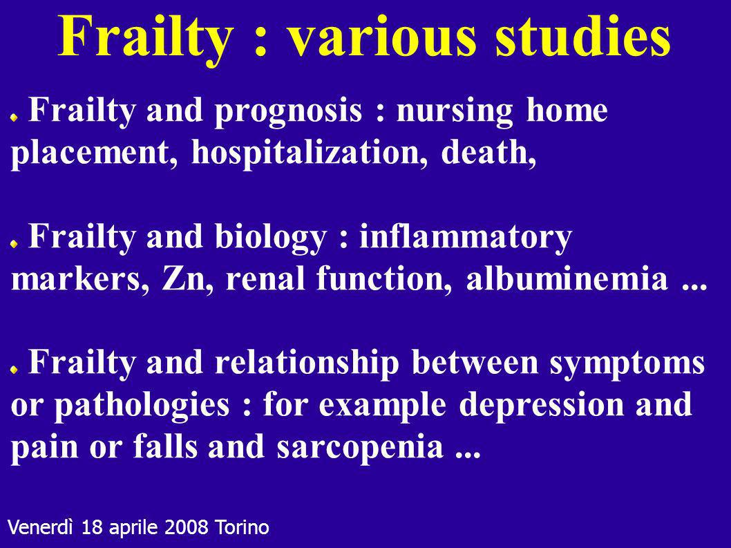 Frailty : various studies