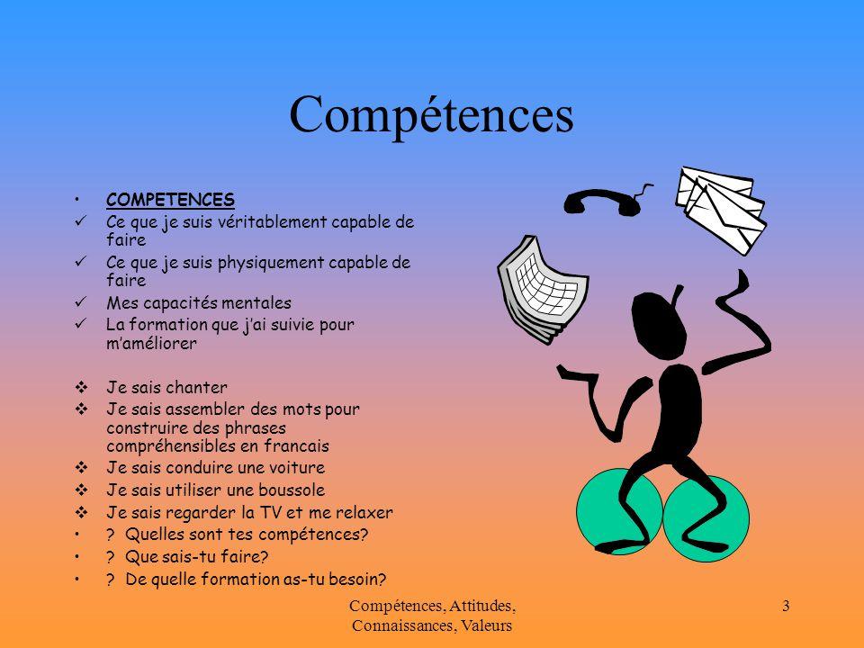 comp u00e9tences  attitudes  connaissances et valeurs