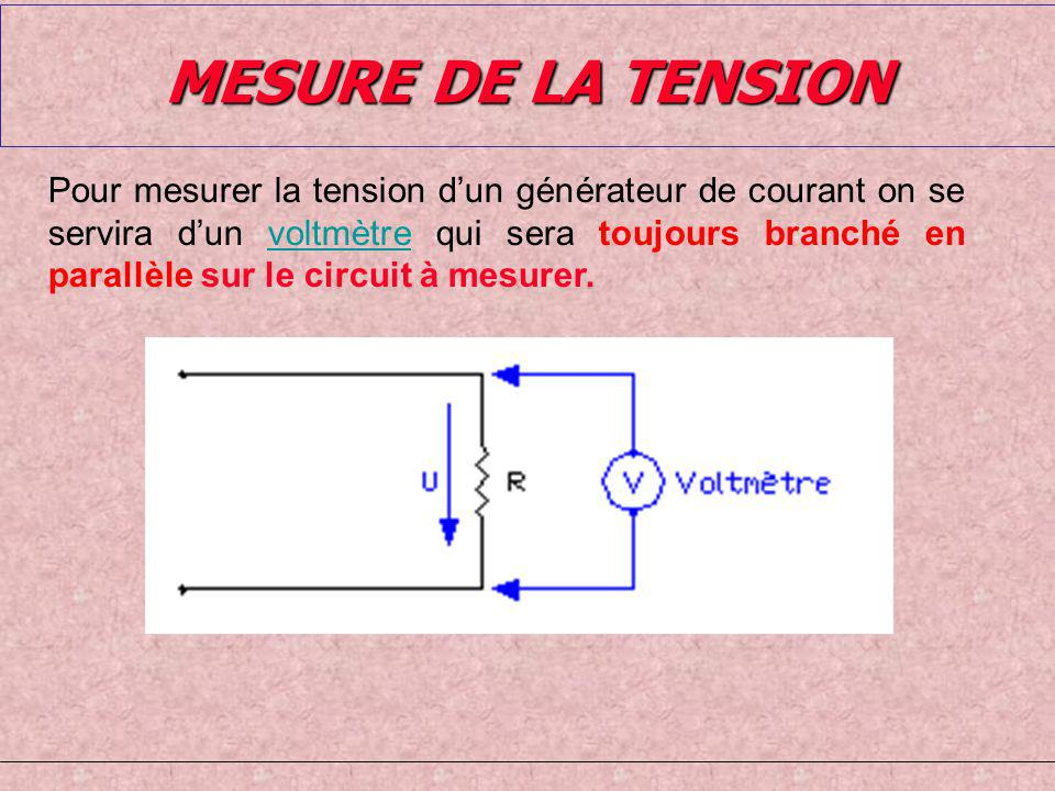 MESURE DE LA TENSION