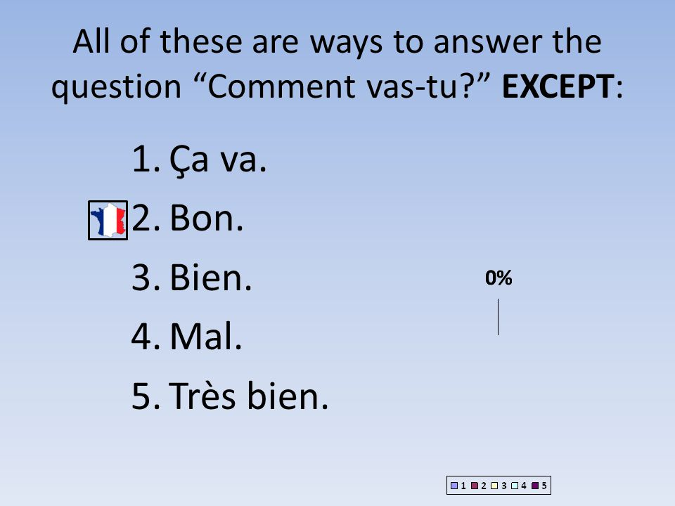 All of these are ways to answer the question Comment vas-tu EXCEPT: