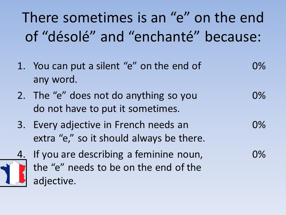 There sometimes is an e on the end of désolé and enchanté because: