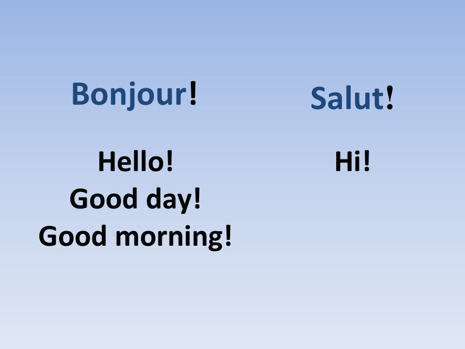Bonjour! Salut! Hello! Good day! Good morning! Hi!