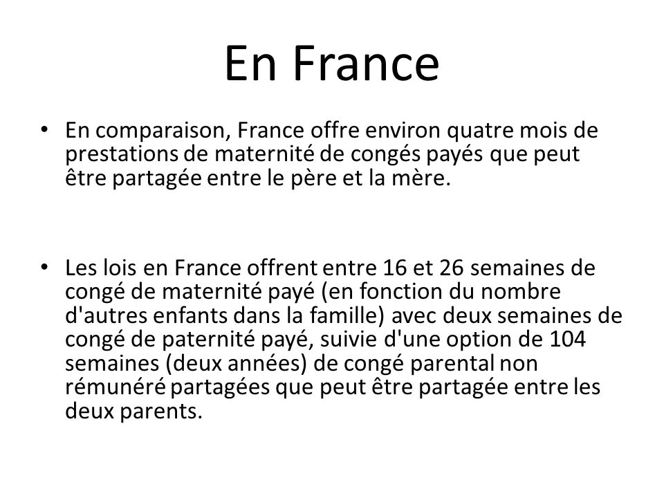 Le Conge Maternite En France Versus Aux Etats Unis Ppt Video
