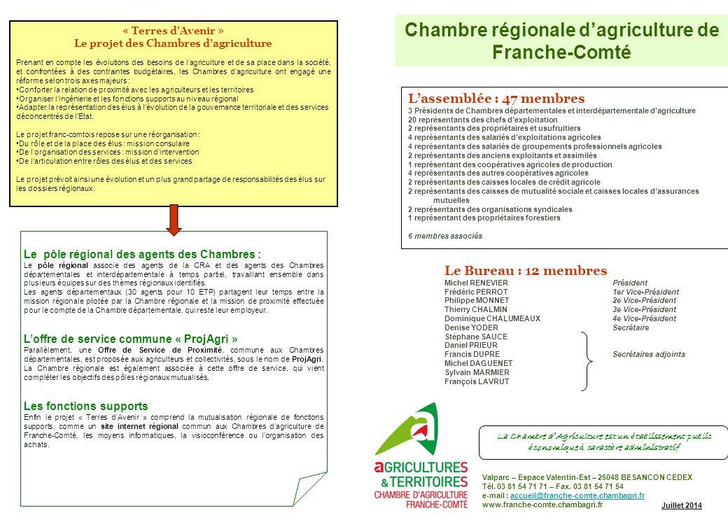 Organisation de la chambre regionale d agriculture de - Chambre d agriculture franche comte ...
