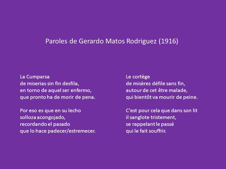 Paroles de Gerardo Matos Rodriguez (1916)